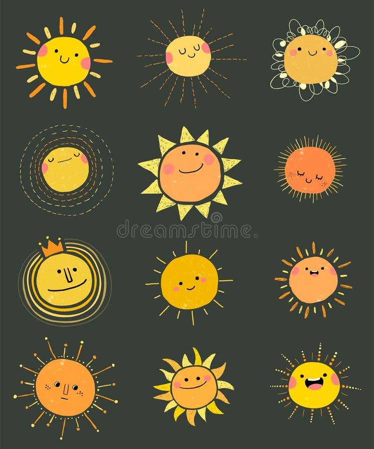 Reeks met de hand getrokken vectorschattige zonnepictogrammen voor zomerontwerp royalty-vrije illustratie