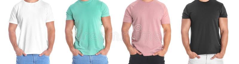Reeks met de mens in verschillende lege kleurrijke t-shirts royalty-vrije stock afbeeldingen
