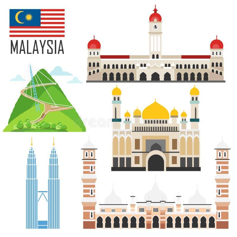 Reeks met de oriëntatiepunten van Maleisië in vlakke stijl royalty-vrije illustratie