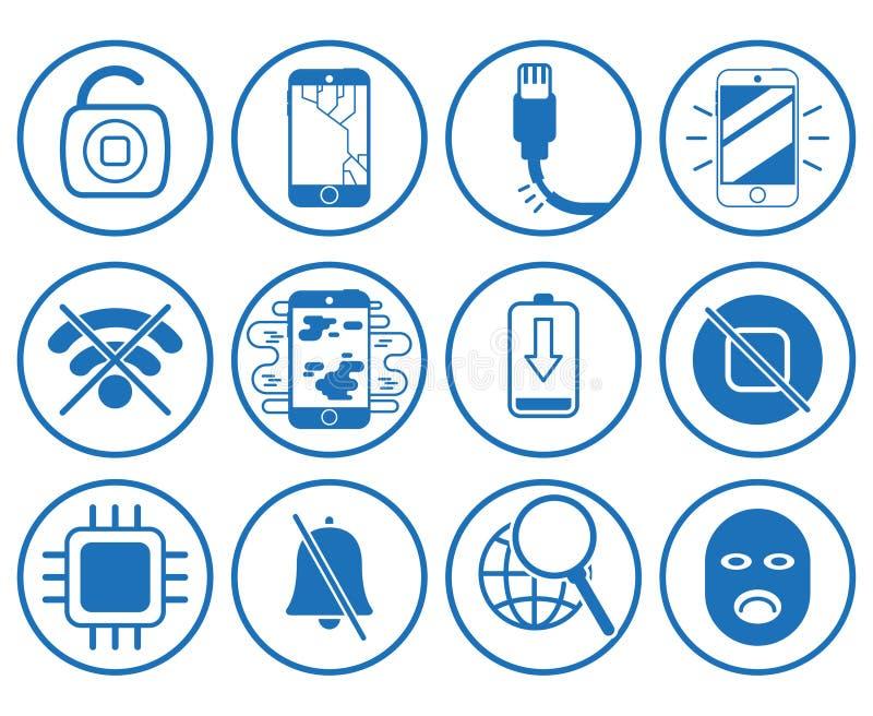 Reeks met de pictogrammen van reparatiesmartphone stock illustratie