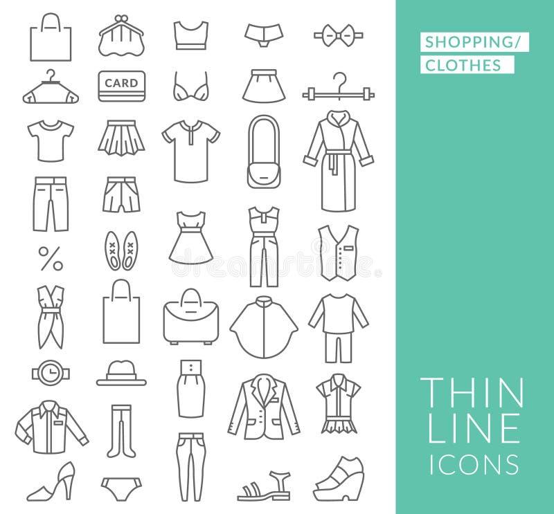 Reeks met dunne lijnpictogrammen op thema van het winkelen royalty-vrije illustratie