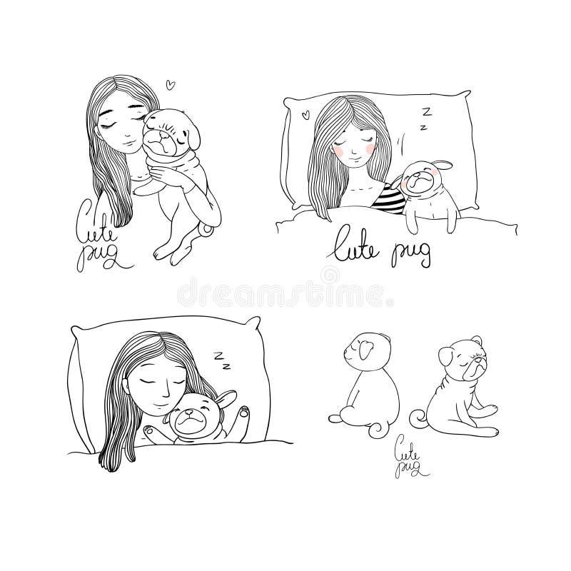 Reeks met een meisje en pug stock illustratie