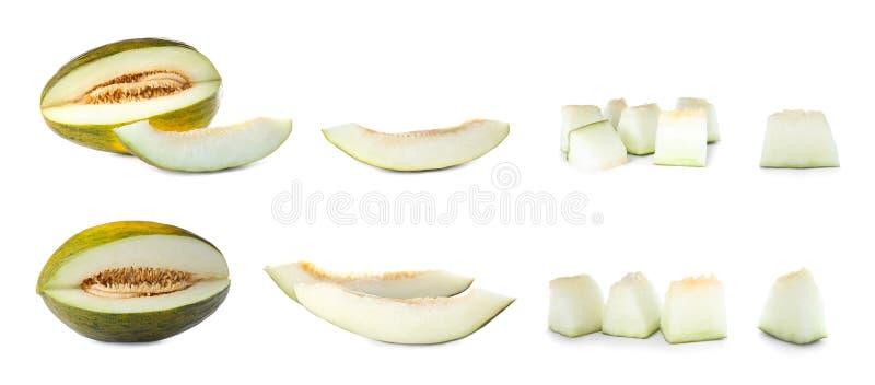Reeks met gesneden verse rijpe meloenen royalty-vrije stock afbeeldingen