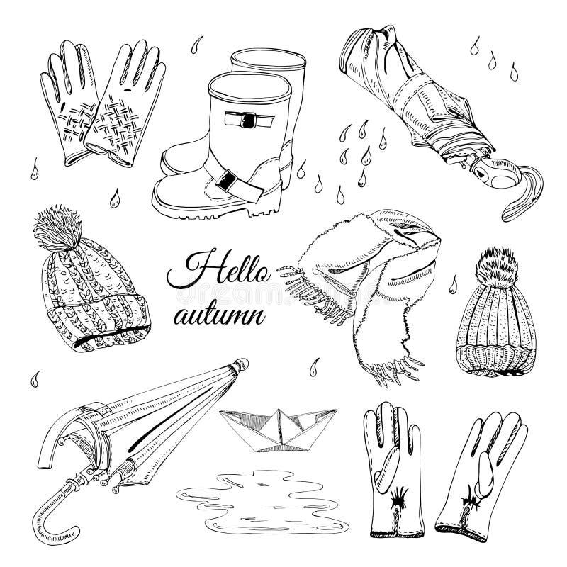 Reeks met hand die van punten van de herfstkleren, dalingen, vulklei en document boot wordt getrokken De zwart-wit elementen van  stock illustratie