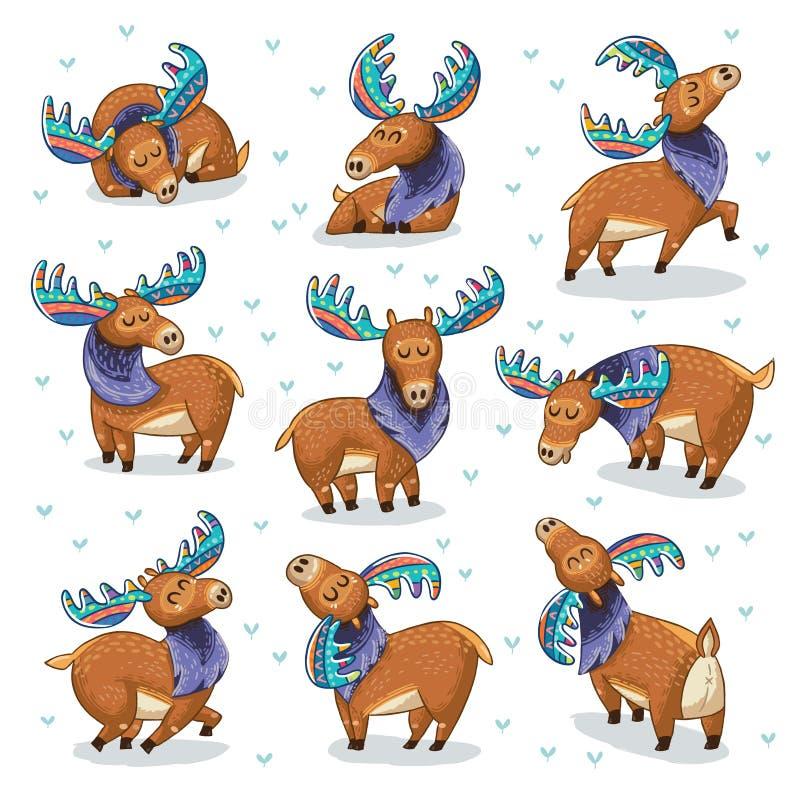Reeks met hand getrokken elanden stock illustratie