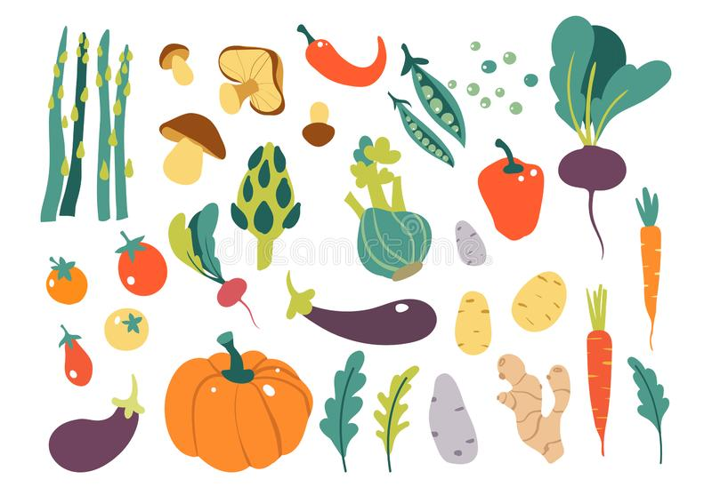 Reeks met hand getrokken kleurrijke krabbelgroenten Groenten vlakke pictogrammen geplaatst komkommer, wortel, ui, tomaat royalty-vrije stock foto