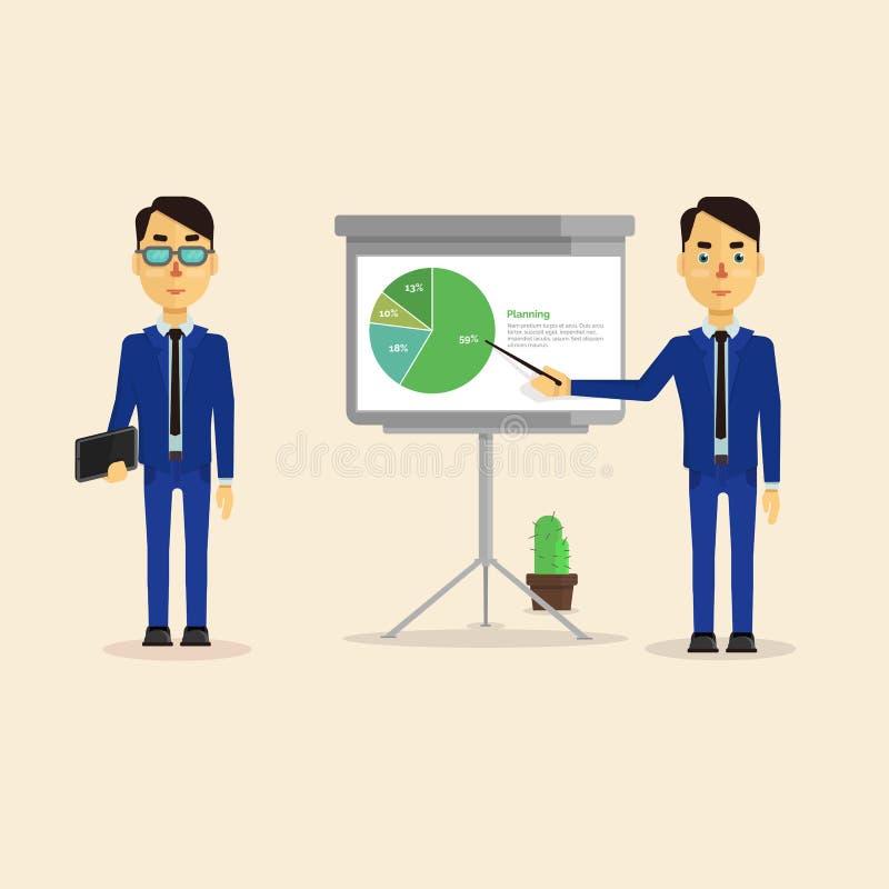 Reeks met het beeld van twee zakenlieden die een presentatieraad leiden die de grafiek toont vector illustratie