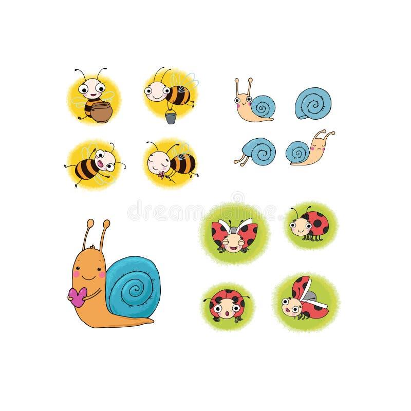Reeks met insecten Mooie beeldverhaalbijen, slakken en lieveheersbeestjes Vector illustratie royalty-vrije illustratie
