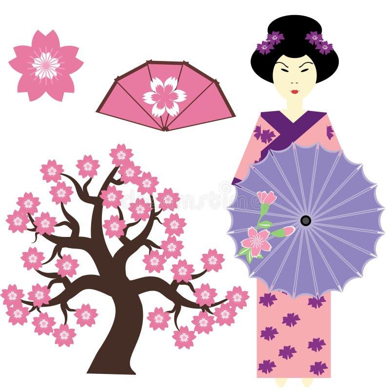 Reeks met Japanse meisje, boom en ventilator vector illustratie