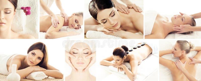 Reeks met jonge en mooie meisjes die in kuuroord ontspannen Vrouw in het masseren van salon Het traditionele oosterse therapie en royalty-vrije stock fotografie