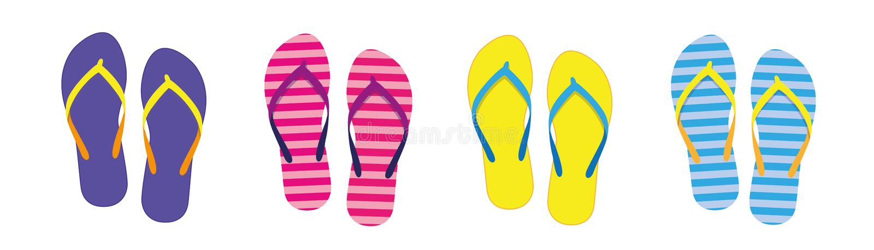 Reeks met kleurrijke de zomerwipschakelaars voor strandvakantie stock illustratie