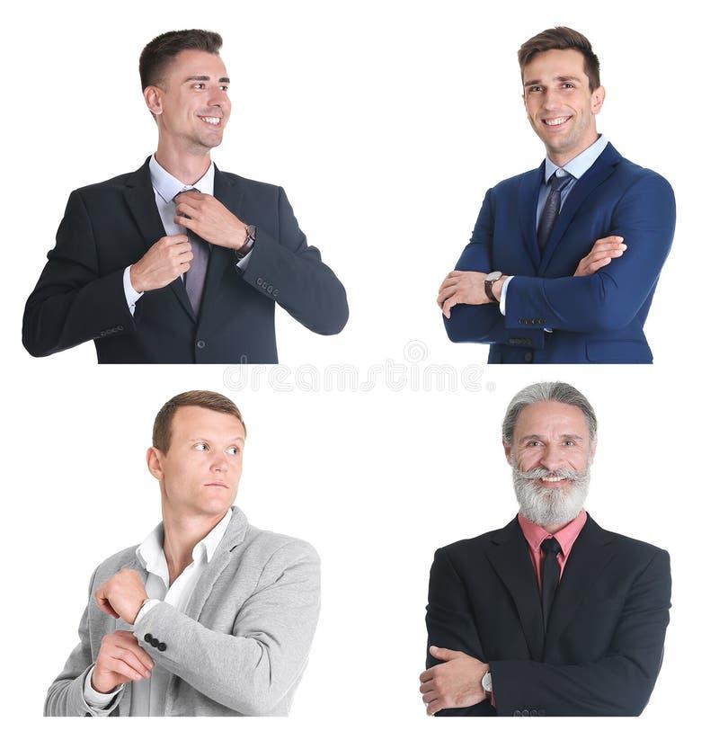 Reeks met knappe zakenliedenportretten royalty-vrije stock fotografie