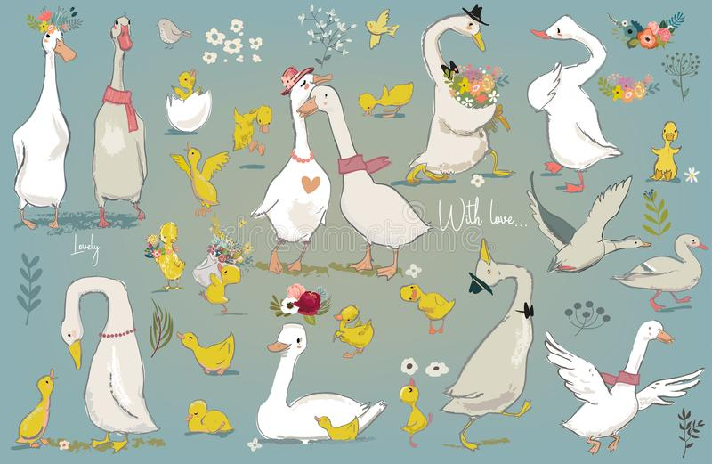 Reeks met leuke landbouwbedrijfvogels vector illustratie