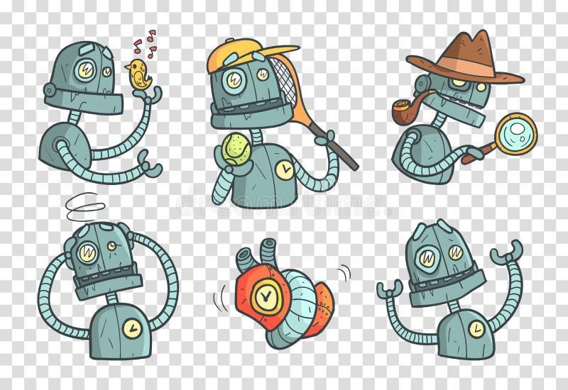 Reeks met metaalrobot met verschillende emoties Beeldverhaal mechanische androïde in overzichtsstijl met kleurrijke vulling vecto stock illustratie