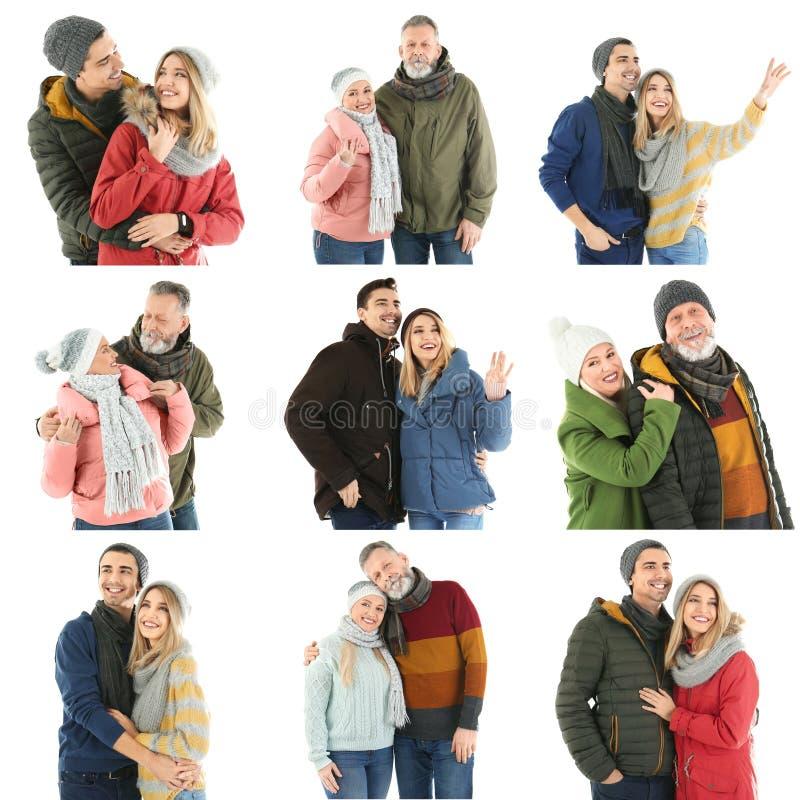 Reeks met paren in warme kleren op witte achtergrond stock foto