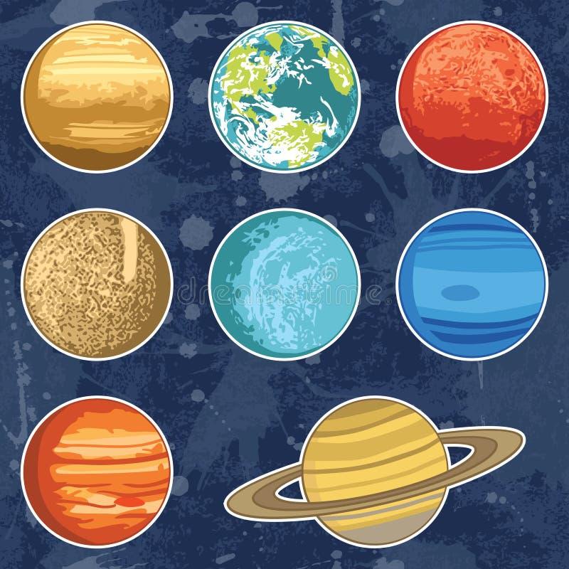 Reeks met planeten van het zonnestelsel vector illustratie