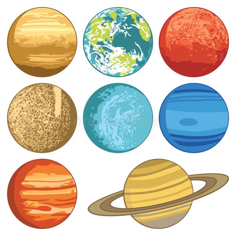 Reeks met planeten van het zonnestelsel royalty-vrije illustratie