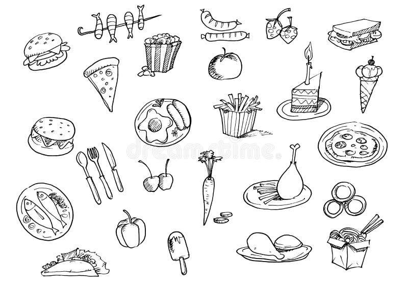 Reeks met snel voedselhand getrokken krabbel royalty-vrije stock afbeelding