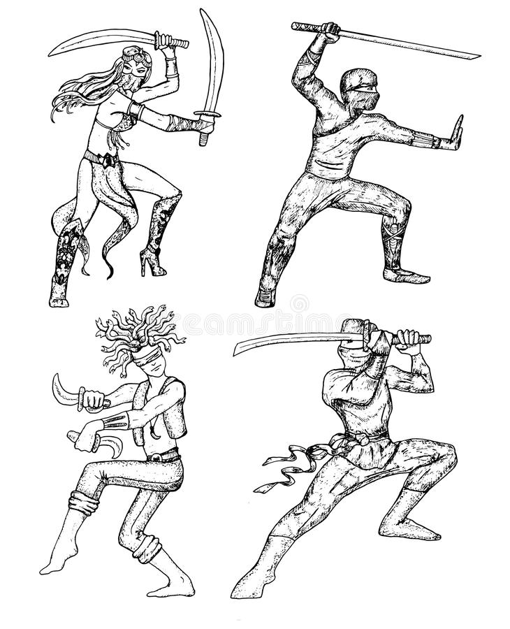 Reeks met strijders en ninja stock illustratie