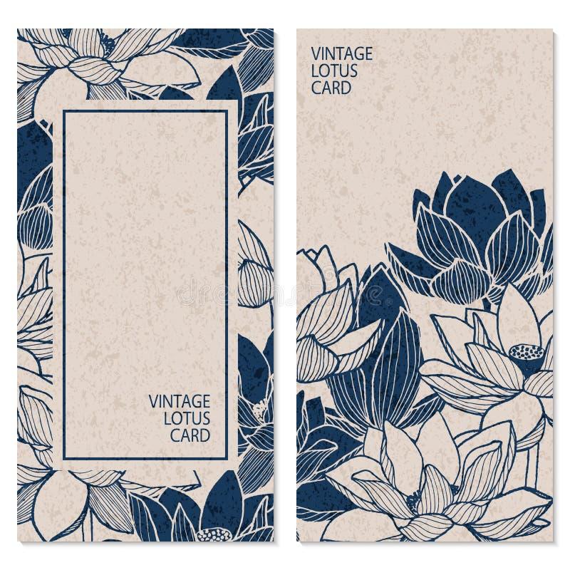 Reeks met twee vector uitstekende kaarten met hand getrokken lotusbloembloemen en plaats voor tekst stock illustratie