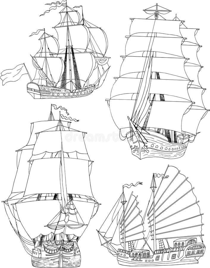 Reeks met varende schepen vector illustratie