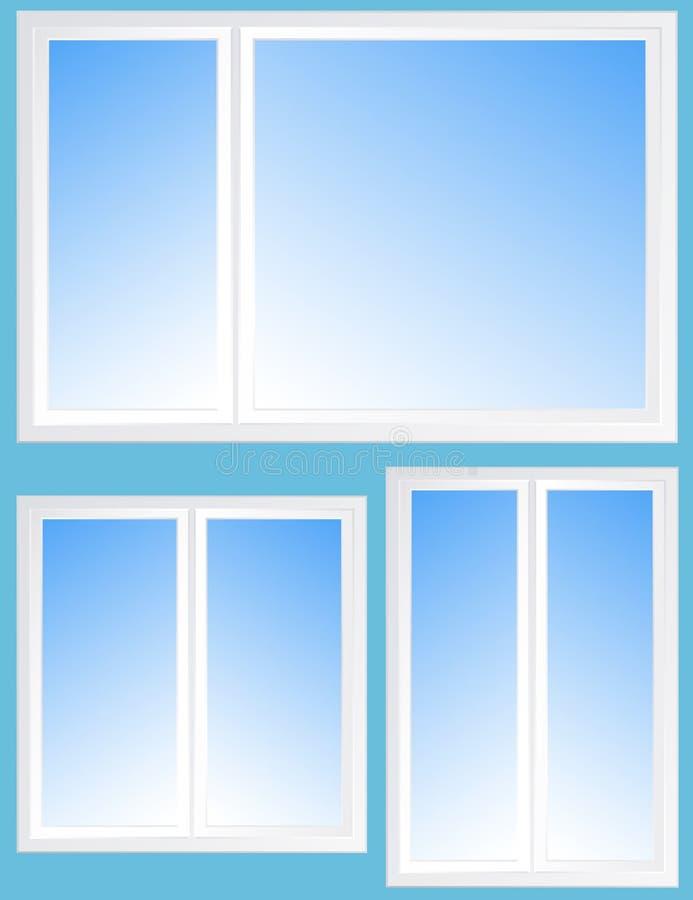 Reeks met venstersilhouet en blauwe hemel vector illustratie