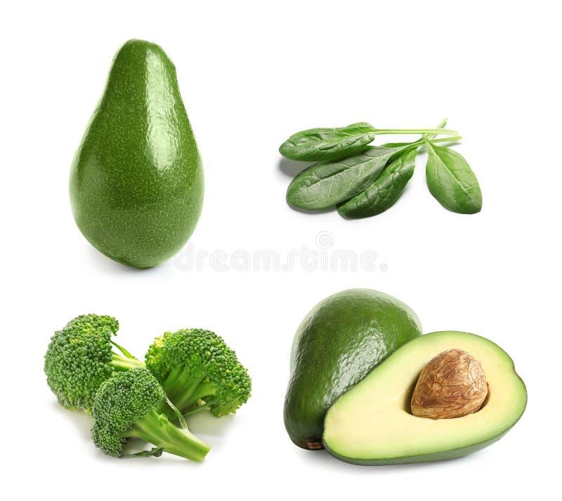 Reeks met verschillend natuurlijk eiwitvoedsel op witte achtergrond stock afbeelding