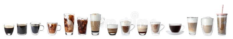 Reeks met verschillende types van koffiedranken stock afbeelding