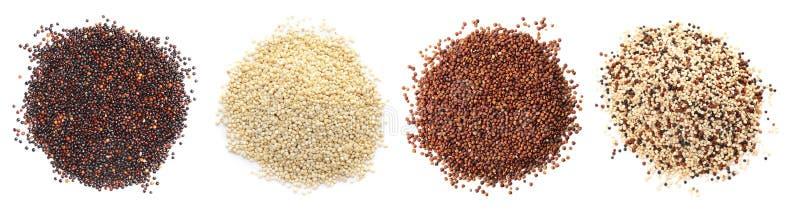 Reeks met verschillende types van quinoa stock fotografie