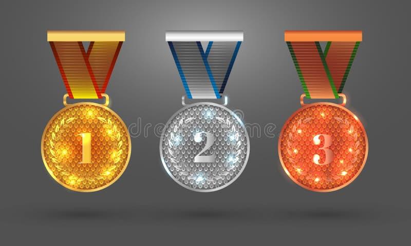 Reeks met vlakke medaillepictogrammen voor eerst, tweede en derde plaatsen royalty-vrije illustratie