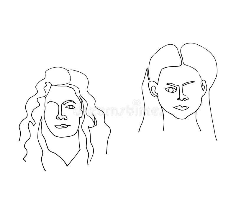 Reeks met vrouwelijke portretten Moderne affiche met lineaire vrouwengezichten Ononderbroken lijnart. ??n lijntekening vector illustratie