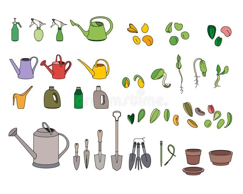 Reeks met zaden, tuinhulpmiddelen en materiaal royalty-vrije illustratie