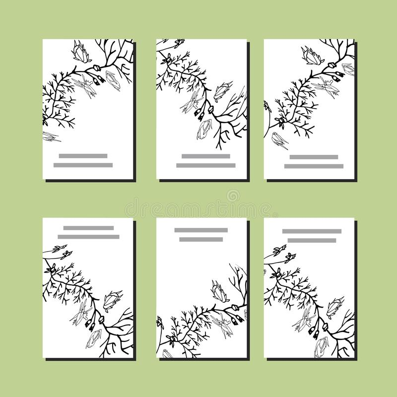 Reeks met zes bloemen romantische malplaatjes Zwarte Rozen stock illustratie