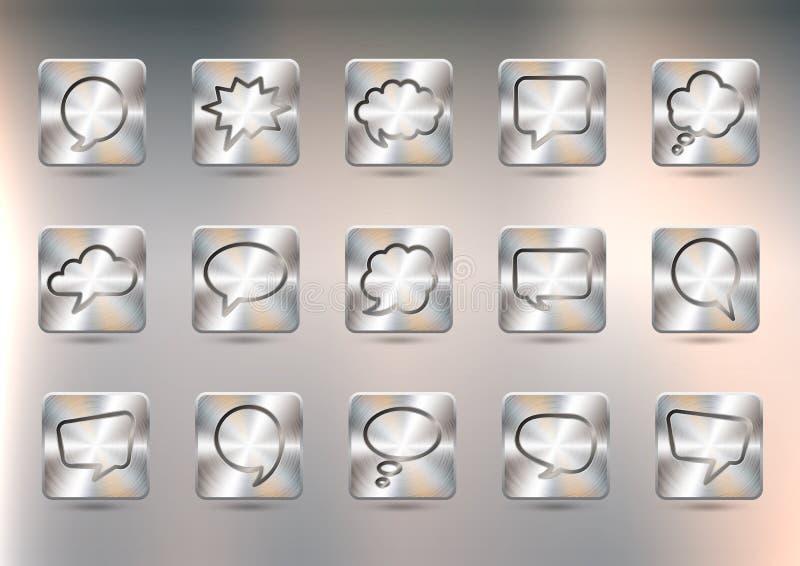 Reeks metaalknopen met toespraakbellen Geborstelde opgepoetste die kopertextuur, met gradiëntnetwerk wordt gecreeerd stock illustratie