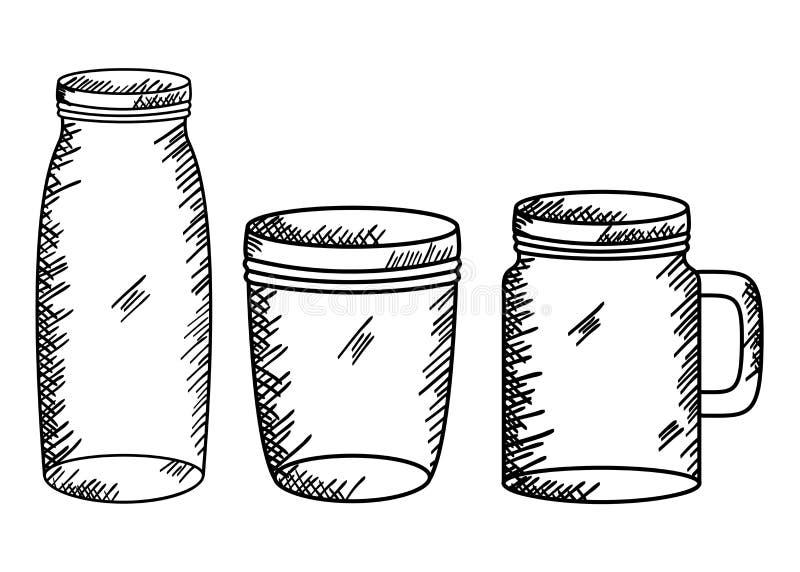 Reeks metselaarkruiken die art. trekken vector illustratie