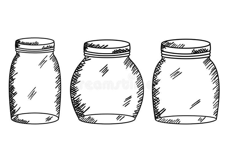 Reeks metselaarkruiken die art. trekken stock illustratie