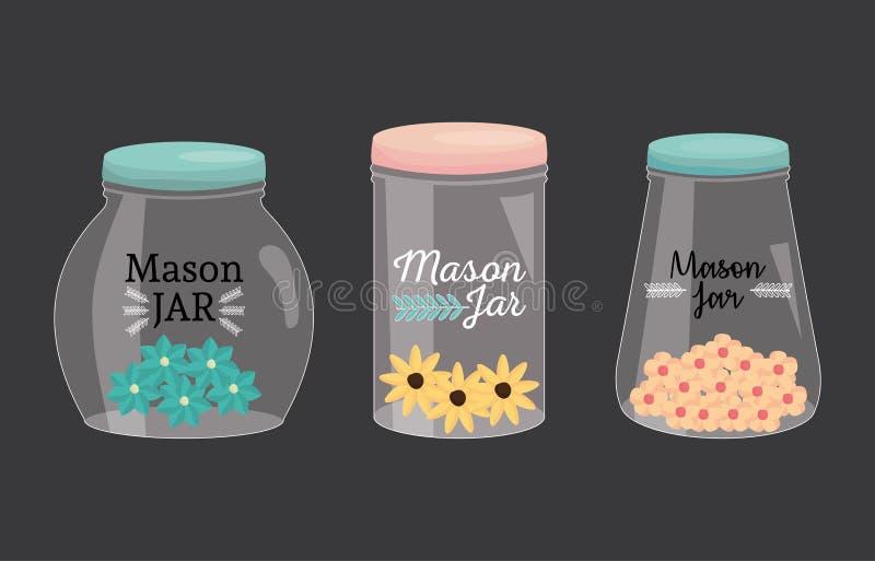 Reeks metselaarkruiken met deksel en bloemen royalty-vrije illustratie