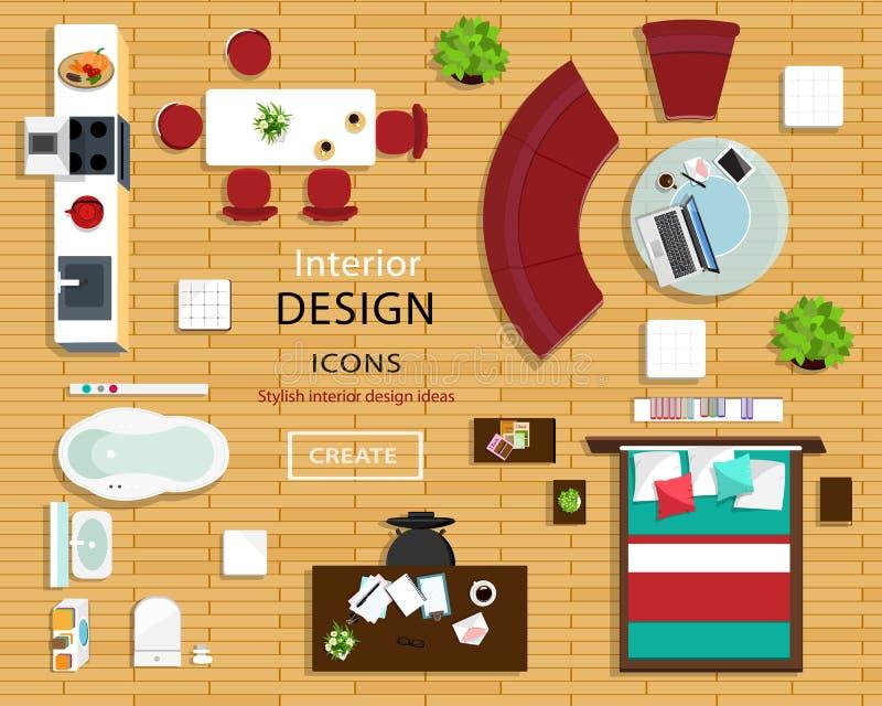 Reeks meubilairpictogrammen voor ruimtebinnenland Hoogste mening van binnenlandse pictogrammen: bank, stoelen, lijst, bed, leunst royalty-vrije illustratie