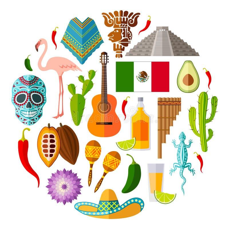 Reeks Mexicaanse pictogrammen in de vlakke stijl Vectorsymbolen en ontwerpelementen royalty-vrije illustratie