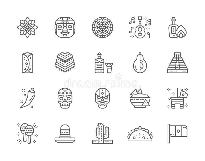 Reeks Mexicaanse Pictogrammen van de Cultuurlijn Tequila, Burrito, Poncho, Agave en meer stock illustratie