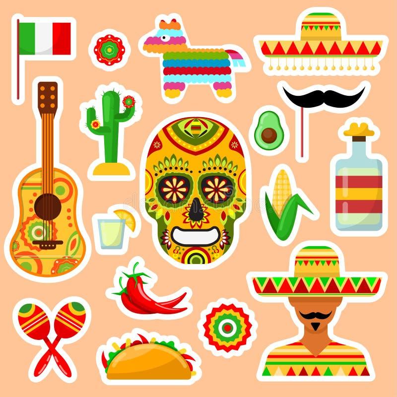 Reeks Mexicaanse stickers stock illustratie