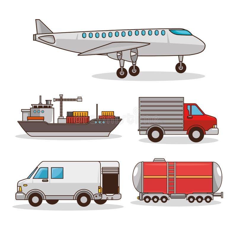 Reeks middelen van vervoer stock illustratie