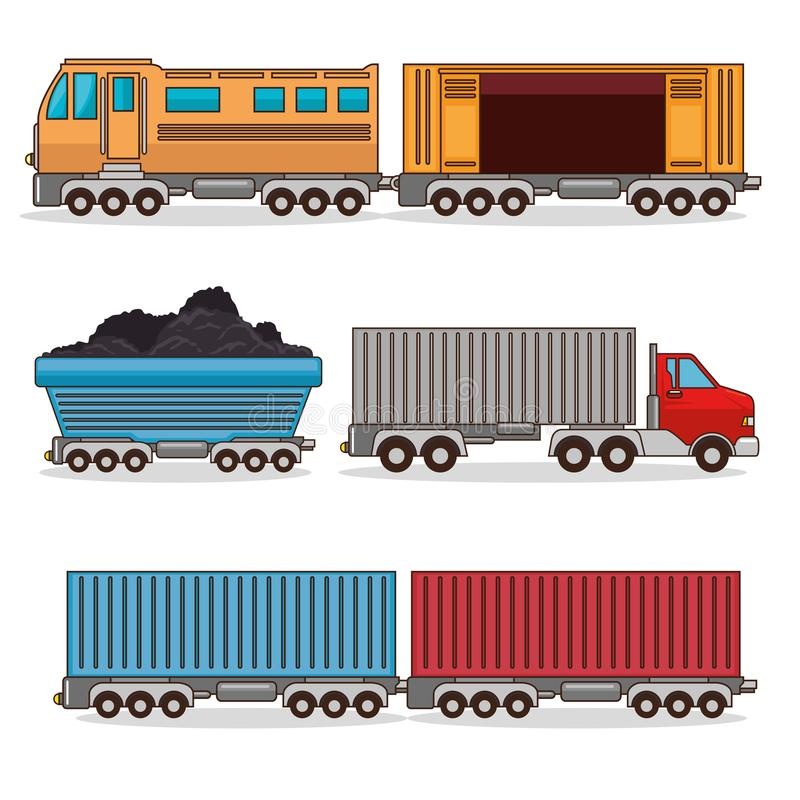 Reeks middelen van vervoer royalty-vrije illustratie