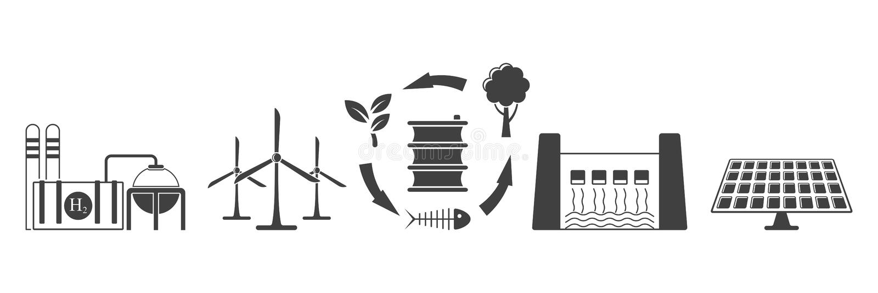 Reeks milieuvriendelijke pictogrammen van de energieextractie Vector op witte achtergrond vector illustratie