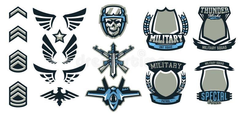 Reeks militaire en militaire kentekens Emblemen, automatische wapens, schedel, munitie, adelaar, vleugels, malplaatjes Vector vector illustratie