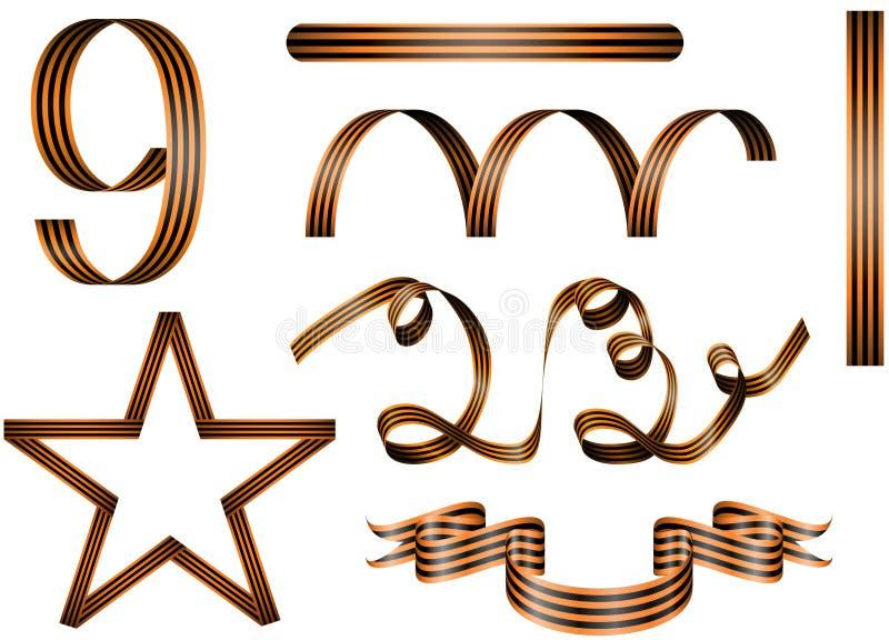 Reeks militaire Georgische linten royalty-vrije stock afbeeldingen