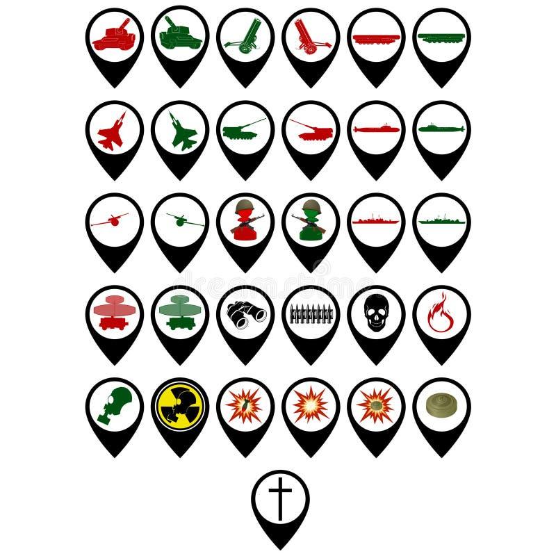 Reeks militaire pictogrammen royalty-vrije illustratie