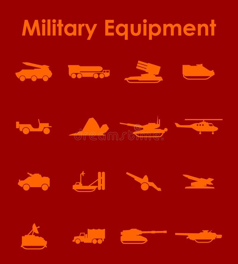 Reeks militaire uitrusting eenvoudige pictogrammen stock illustratie