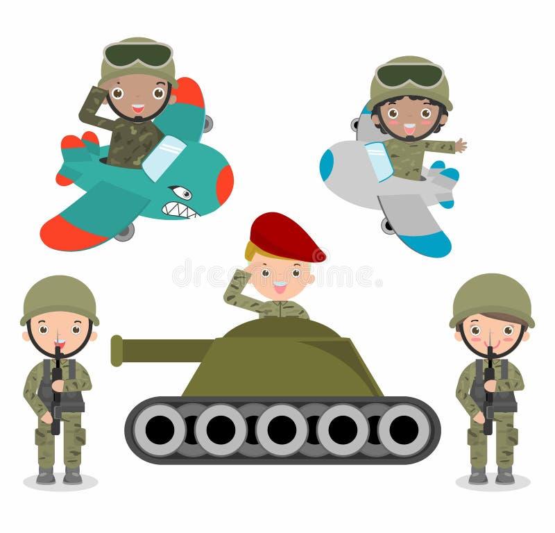 Reeks militairen, de reeks die van de beeldverhaalmilitair, jonge geitjes militairenkostuums dragen vector illustratie