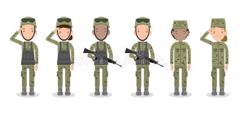 Reeks militairen Mannen en vrouwen het vlakke die ontwerp van het beeldverhaalkarakter op witte achtergrond wordt geïsoleerd Het  vector illustratie